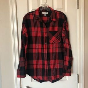 Old Navy red plaid shirt xs
